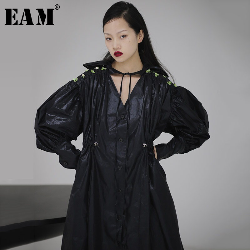 [EAM] Women Asymmetrical Pleated Sequins Big Size Dress New V-Neck Lantern Sleeve Loose Fit Fashion Spring Autumn 2020 1S719