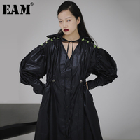 [EAM] Women Asymmetrical Pleated Sequins Big Size Dress New V Neck Lantern Sleeve Loose Fit Fashion Spring Autumn 2020 1S719
