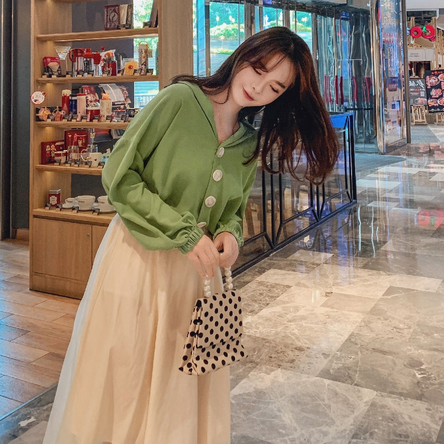 Photo Shoot INS Hipster Green Short V-neck Single Breasted Long Sleeve Chiffon Shirt White Half-length Mesh Dress WOMEN'S Suit O