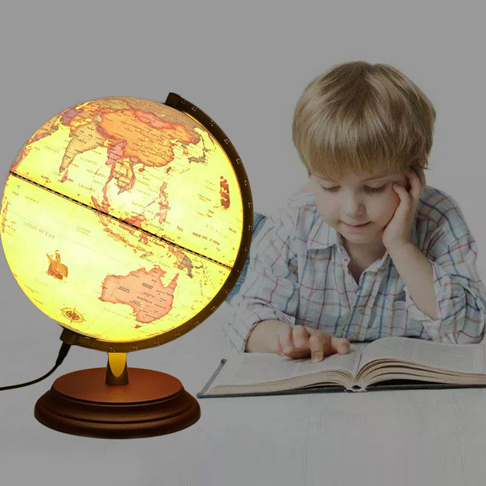 Illuminated World Globe Light-Up Table LED Lamp USB Clearly Printed Ball Waterproof With Scale Stand Bedside Light for Gift 25CM