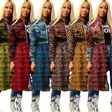 Женский зимний длинный рукав, каскадные оборки, кружево, пэтчворк, на молнии, открытый, большой, свободный, длинный Тренч, уличный, пальто, ночное, 5072 S-3XL