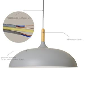 Image 5 - Nordic Minimalista Lampade A Sospensione Bar Caffetteria Ristorante E27 LEGNO Paralume In Alluminio Colorato Lampade A Sospensione AC110V/220V