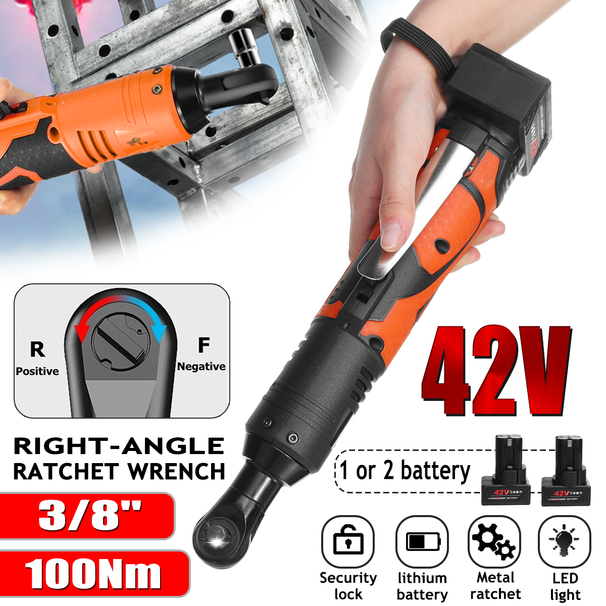 Efficient 42V Electric Wrench Angle Drill Screwdriver 3/8 Cordless Ratchet Wrench Scaffolding 100NM With 1/2 Lithium-Ion Battery