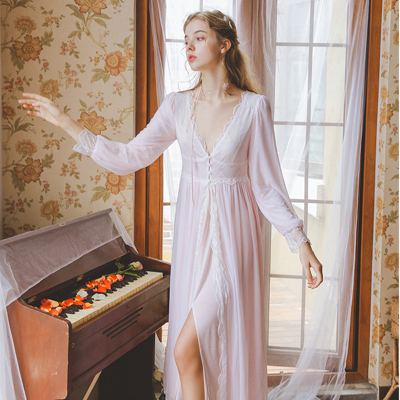 L592 women sexy vintage Sweet sleepwear homewears night dress nightgown title=