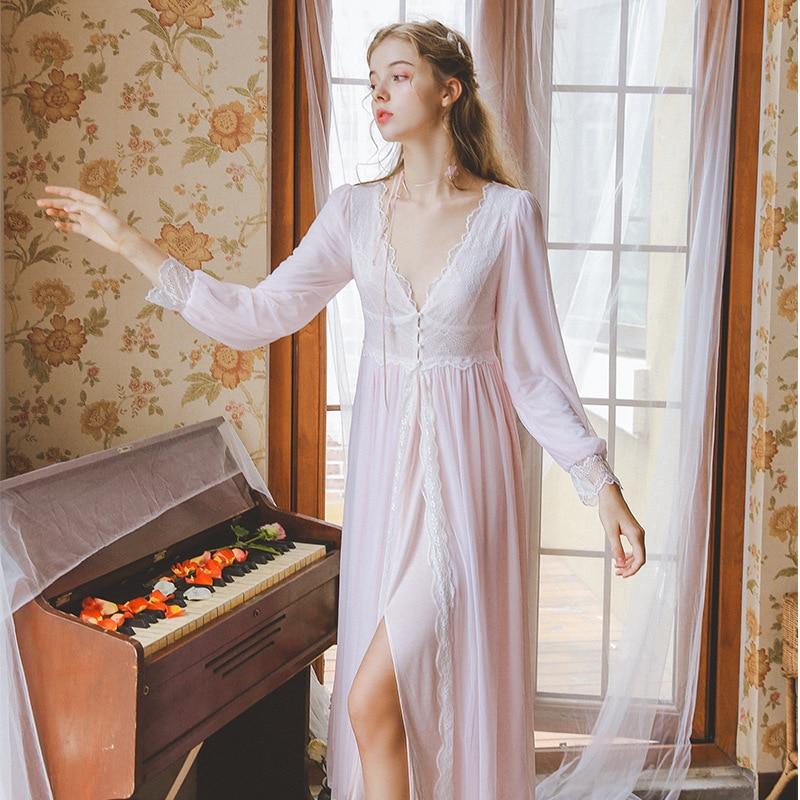 L592 Women Sexy Vintage Sweet Sleepwear Homewears Night Dress Nightgown