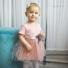 Summer Baby Kids Dress Baby Girls Mesh Princess Dress With Flower Belt Short Sleeve Round Neck Cute Vestio