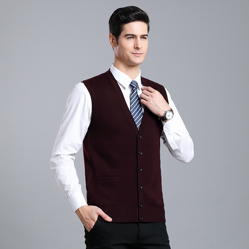 2019 New Fashion Brand Sweater Mens Cardigan Slim Fit V Neck Jumpers Knitting Vest Sleeveless Winter Casual Clothing Male