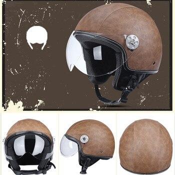 DOT motorcycle helmet Unisex Open Face Cascos Jet helm Vintage Leather electric Scooter cascque Retro M L XL XXL red black