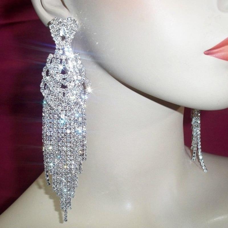 Long Heart diamante crystal Rhinestone Silver Bridal Prom earrings