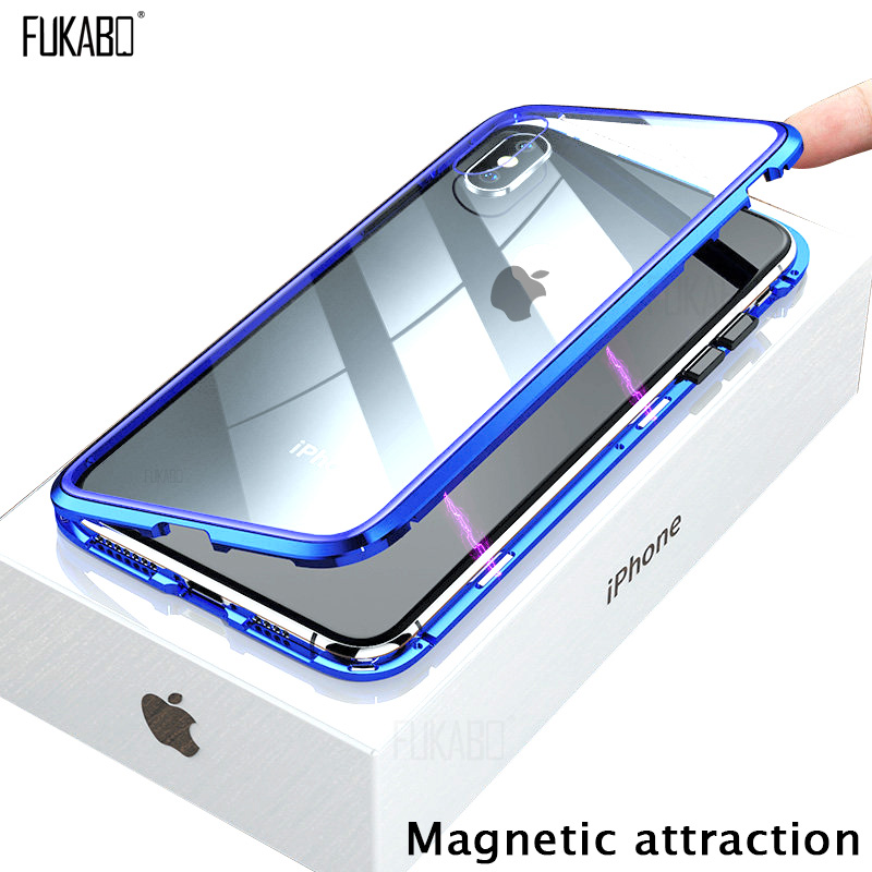 Magnetisk attraksjonsveske for iPhone 11 X Xr Xs Max 6 6s 7 8 Plus Støtsikker veske til iPhone 11 Pro Max herdet glass bakdeksel