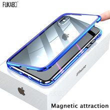 Magnetic Attraction Case For iPhone 11 X Xr Xs Max 6 6s 7 8 Plus Shockproof Case For iPhone 11 Pro Max Tempered Glass Back Cover(China)