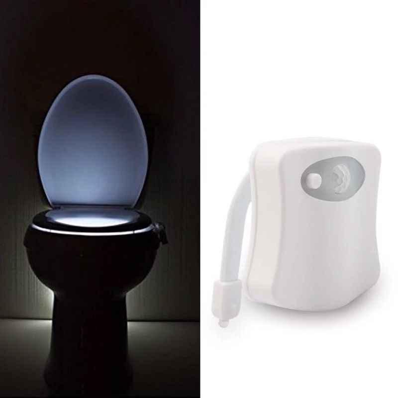 AUSIDA Smart PIR détecteur de mouvement LED veilleuse 8 couleurs étanche rétro-éclairage pour cuvette de toilette LED lampe Luminaria Mini lumière