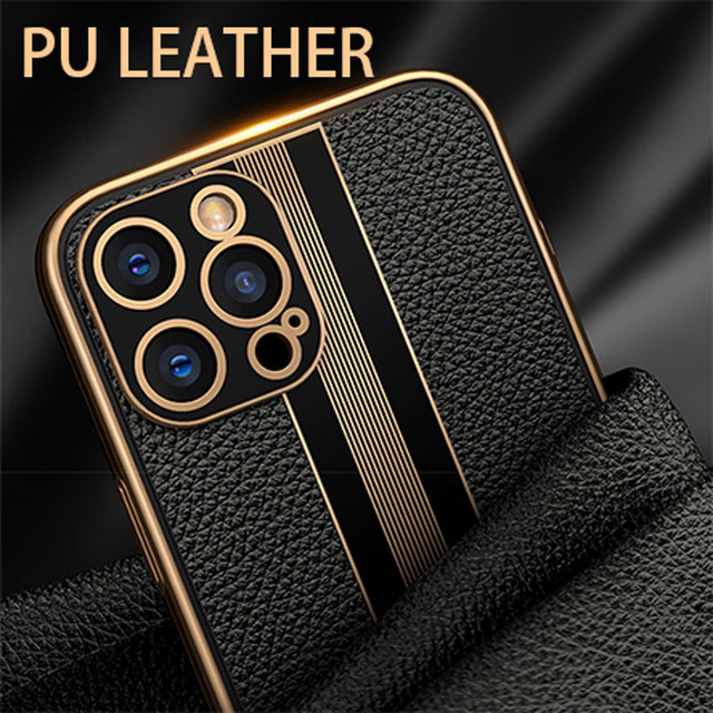 Fashion Luxury Business Shockproof Soft Silicone PU Leather Cell Phone Case For iPhone 12 11 Pro Max Mini Cover Fundas Coque 2