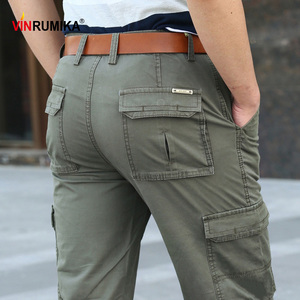 Image 2 - 2020 Mens Summer Multi pocket Overalls Pants Man Spring Autumn Casual Brand Army Green Cotton Loose Cargo Pant long trousers