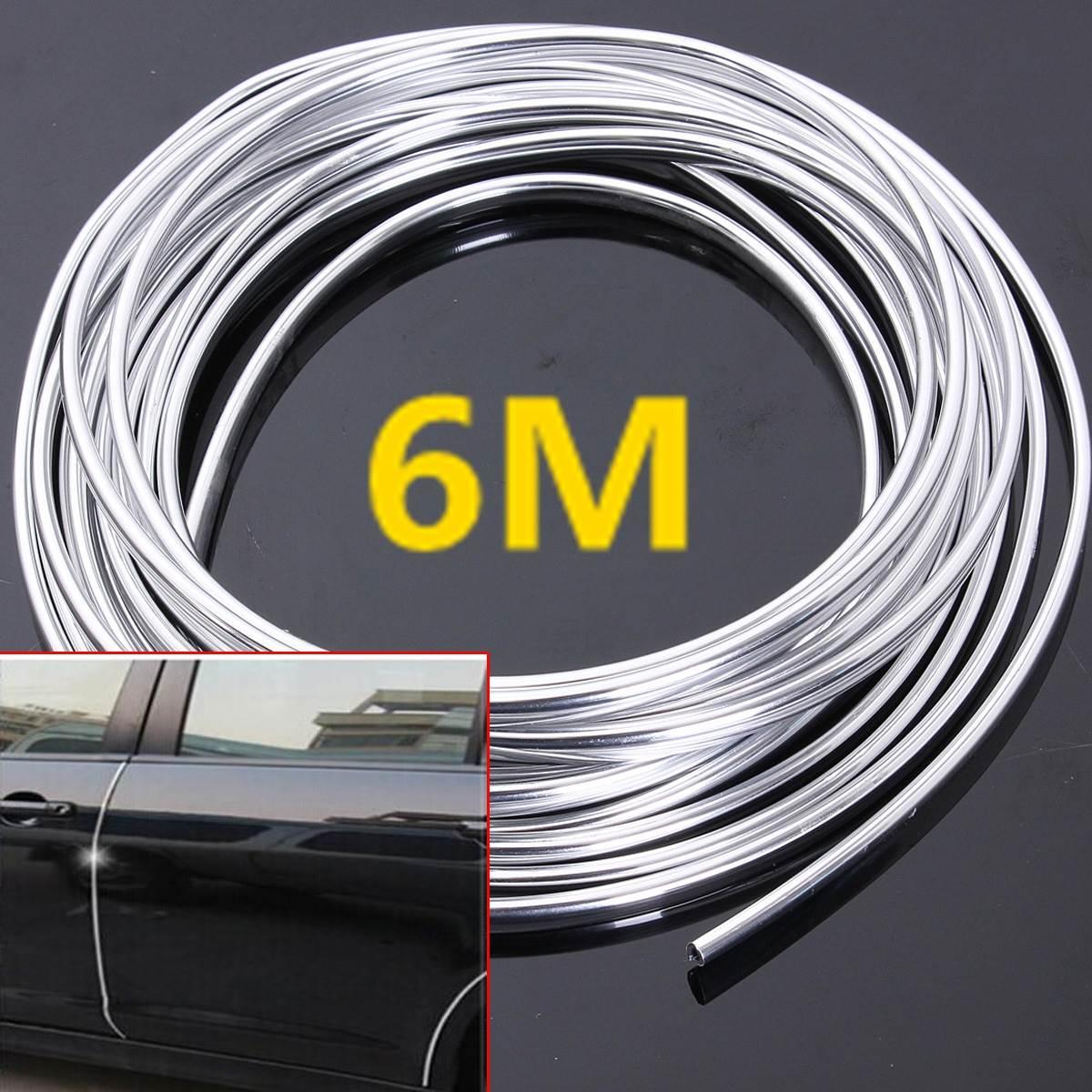6M Chrome Moulding Trim Streifen Auto Tür Rand Scratch Guard Protector Abdeckung Streifen Rolle