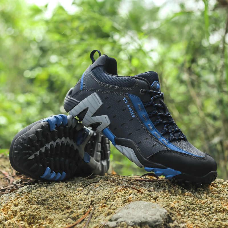 Erkekler açık yürüyüş ayakkabıları su geçirmez nefes avcılık trekking ayakkabıları marka hakiki deri spor tırmanma yürüyüş ayakkabıları sneakers