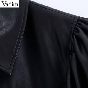 Image 5 - Vadim women stylish PU leather blouses long sleeve turn down collar shirts female office wear basic tops blusas LB722