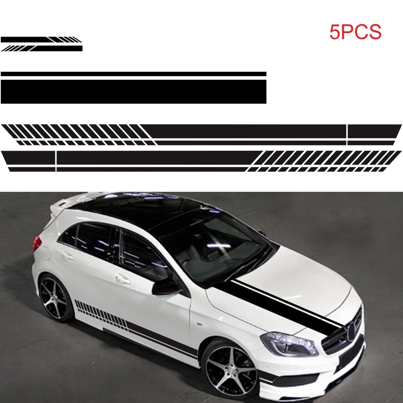 5 шт. автомобиль Стикеры рисунок наклейка на уровне талии Стикеры D-936 кузова автомобиля гоночных Боковая дверь длинные полосатые наклейки С...