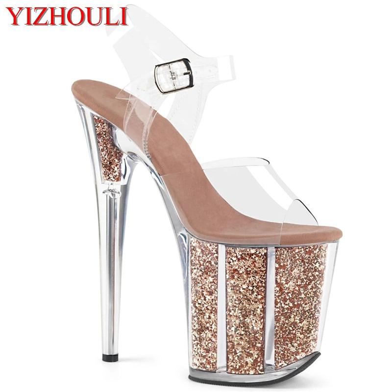 20 cm plataforma transparente sexy decoração sequined, 8 polegada stiletto banquete boate sapatos/pole dança modelo sandálias