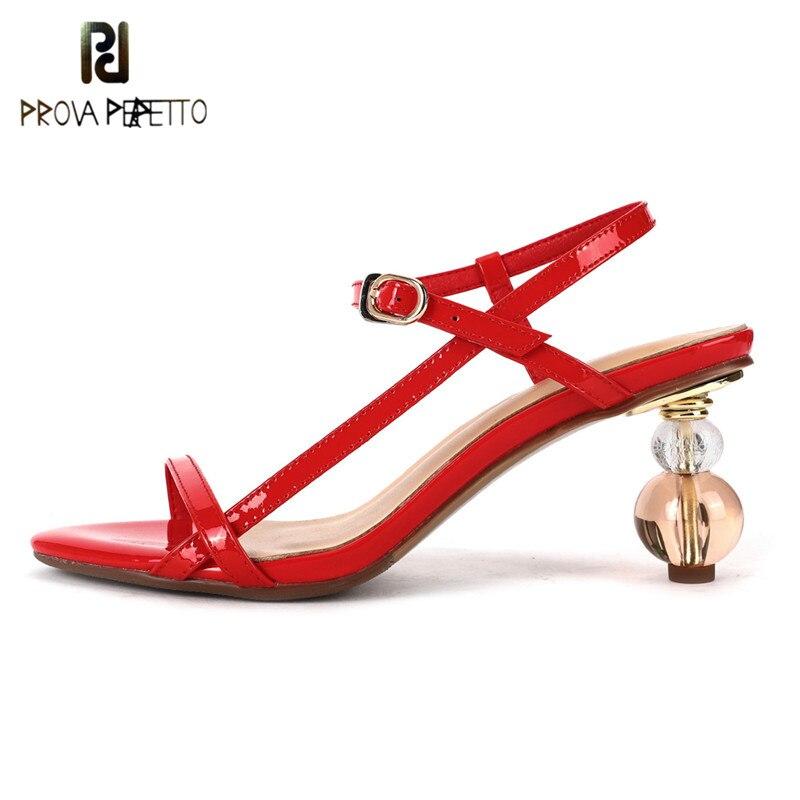 Prova Perfetto Transparent ballon talons sandales femmes Sexy fête haute étrange talons chaussures femme été désherbage chaussures dames 2020