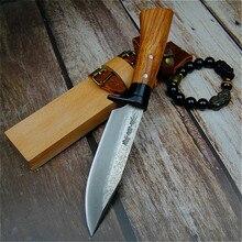 Cuchillo recto de caza forjado a mano japonés 59 60hrc, grano de Damasco, para acampar al aire libre, cuchillo táctico afilado + vaina de madera cruda