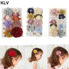 10 шт. модная Цветочная Детская повязка на голову, супер мягкая нейлоновая Детская резинка для волос, аксессуары для волос, реквизит для фотографирования