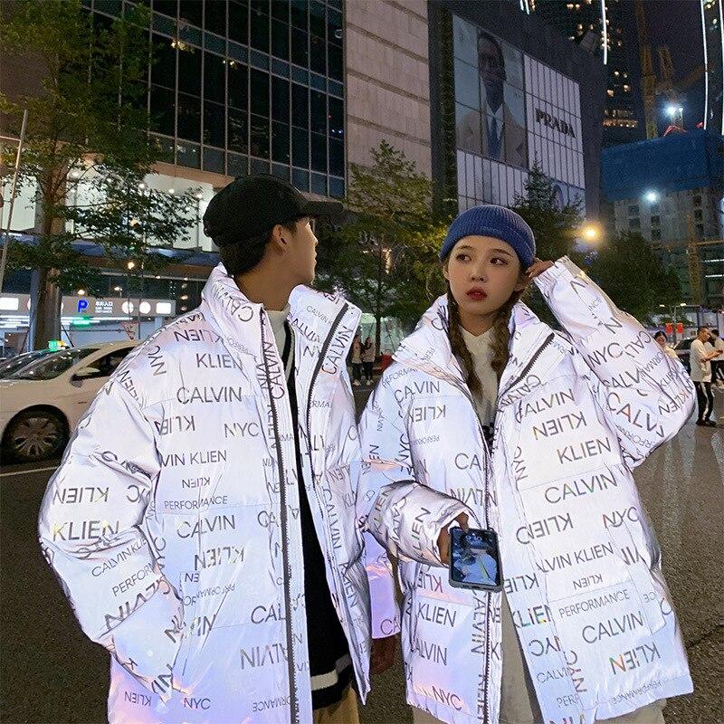 Модная брендовая одежда, Корейская версия, крутая одежда с хлопковой подкладкой, мужское отражающее зимнее пальто, куртка с хлопковой подкладкой|Парки| | АлиЭкспресс