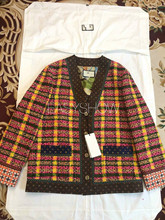 C007 Color  plaid wool coat,The new spring  Leisure loose version, colored plaid woven fabrics,Lined with 100% mulberry silk