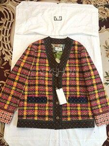 Image 1 - Casaco de lã xadrez da cor c007, a nova versão solta do lazer da primavera, tecidos tecidos coloridos da xadrez, alinhados com seda 100% da amoreira