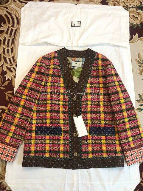 Casaco de lã xadrez da cor c007, a nova versão solta do lazer da primavera, tecidos tecidos coloridos da xadrez, alinhados com seda 100% da amoreira