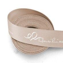 HAOSIHUI – Rubans en soie et Polyester, épais de 19 à 51mm, texte personnalisé, en coton pour artisanat, Logo cadeau fait à la main, 100yards par lot