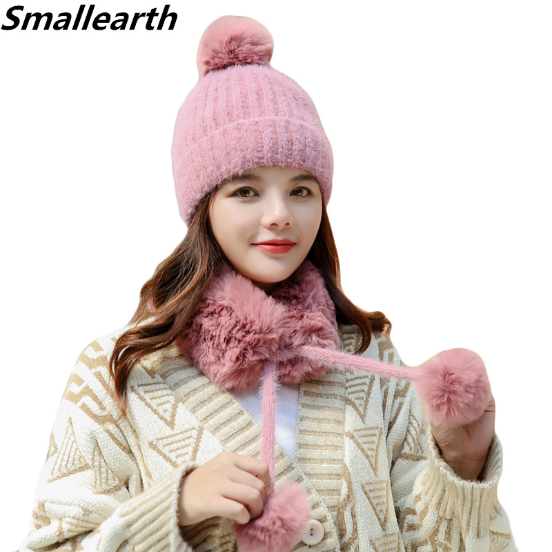 New Winter Hat Scarf Set For Women Girl Warm Beanies Hat For Female Thick Scarf Pompoms Winter Hats Knitted Caps Scarf 2 Pieces