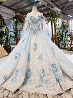 Free customize 2020 high end off the should long sleeves light sky blue bridal gowns with 1 meter train illusion neck+back