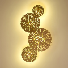 Gold Lotus Wall Lamp Modern Leaves Copper Wall Light Home Decor Sconce LED Bedside Living Room Wall Lamps