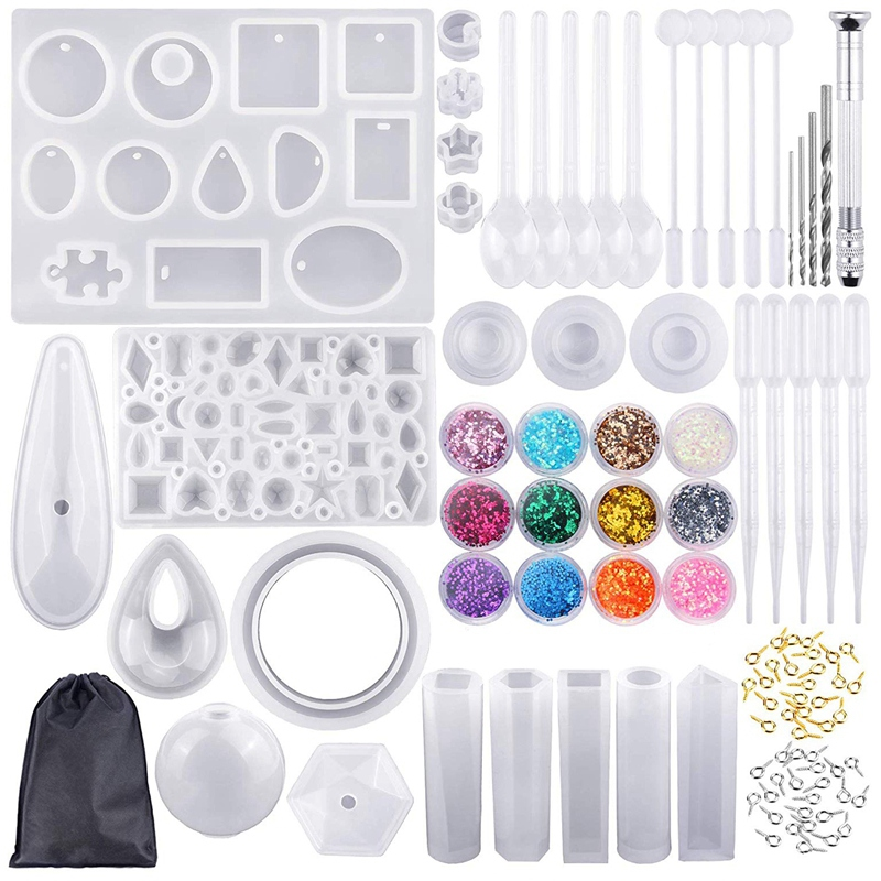 BHTS-98 Pieces Silicone Casting Molds And Tools Set With A Black Storage Bag For DIY Jewelry Craft Making