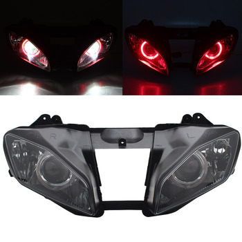 Motorcycle Headlight Assembly HID Projector Conversion LED Red Angel Eyes DRL High Low Beam Headlamp For Yamaha YZF R6 08-15 image