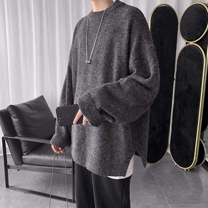 Winter 2019 Korean Version Of Joker Oversize Solid Color Crew Neck Sweater Sweater Solid Color Ins Trend Men's Sweater