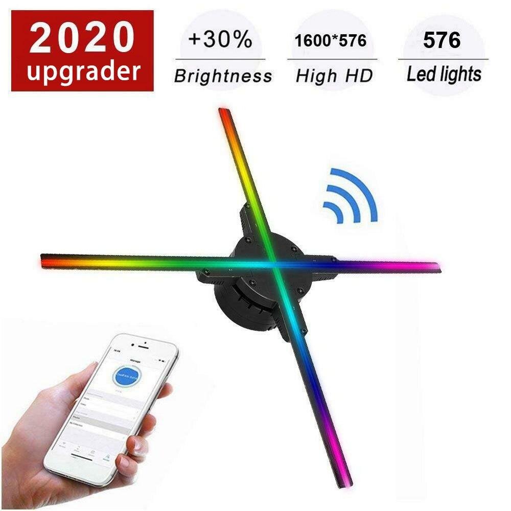 Wi-fi 3D Ventilador Do Projetor 576 LEVOU Lâmpada de Imagem Holográfica Holograma Display Advertising Player 3D Remoto Luz Do Projetor Com 16G TF