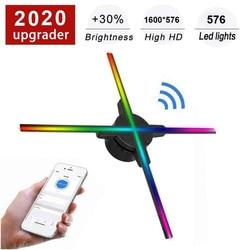 Wifi 3D Hologramm Projektor Fan 576 LED Holographische Bildgebung Lampe Player 3D Remote Werbung Display Projektor Licht Mit 16G TF