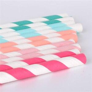 Image 3 - 100 adet toptan İçme kağıt payet çizgili hasır bebek düğün duş dekorasyonu hediye parti olay malzemeleri