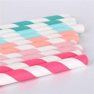 Image 3 - Pailles en papier pour boire, 100 pièces, vente en gros, à rayures, décoration de réception prénatale, cadeau et événements