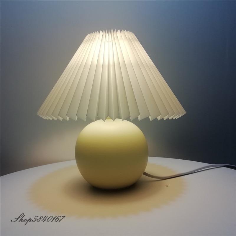 Корейская плиссированная настольная лампа Ins для поделок, Керамические настольные лампы для гостиной, домашнего декора, милая настольная лампа, современный Настольный светильник|Настольные лампы|   | АлиЭкспресс