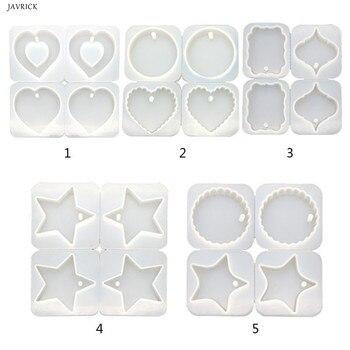 4 sztuk DIY przezroczysta żywica epoksydowa biżuteria wisząca podejmowania formy w kształcie serca w kształcie serca okrągły fala ręcznie wykonany wisiorek formy żywica gipsowe formy silikonowe