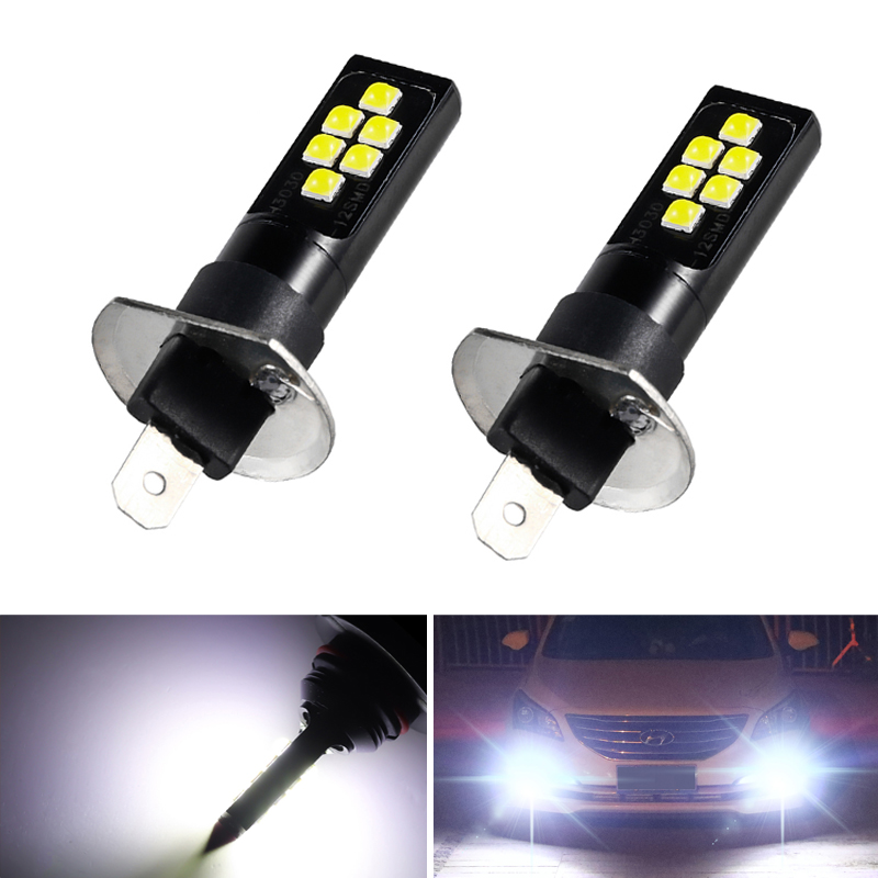 2Pcs Super Bright H1 Led Bulbs Fog Running Light 6000K White 3030 12SMD 1200Lm Univeral Canbus Lamp Car Fog Front Head Light