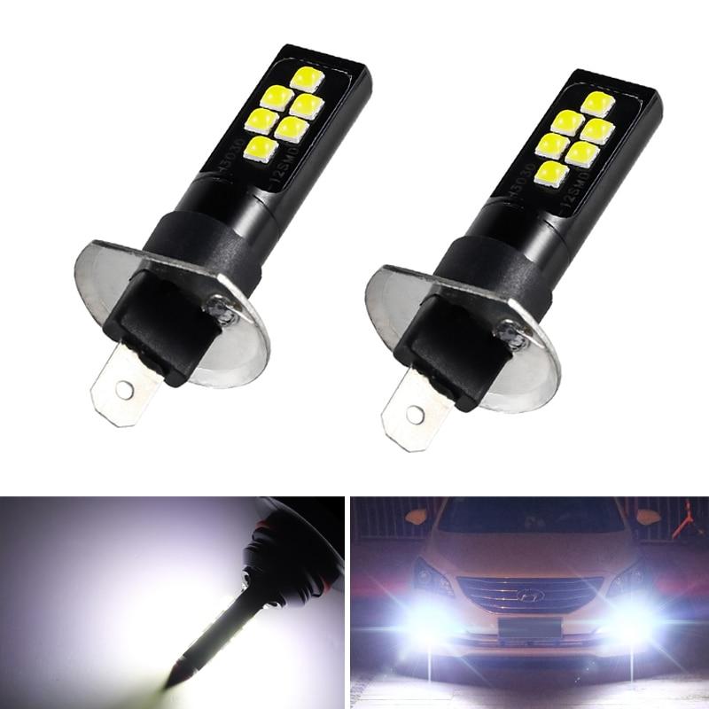 2Pcs Super Bright H1 Led Bulbs Fog Running Light 6000K White 3030 12SMD 1200Lm Univeral Canbus Lamp Car Fog Front Head Light