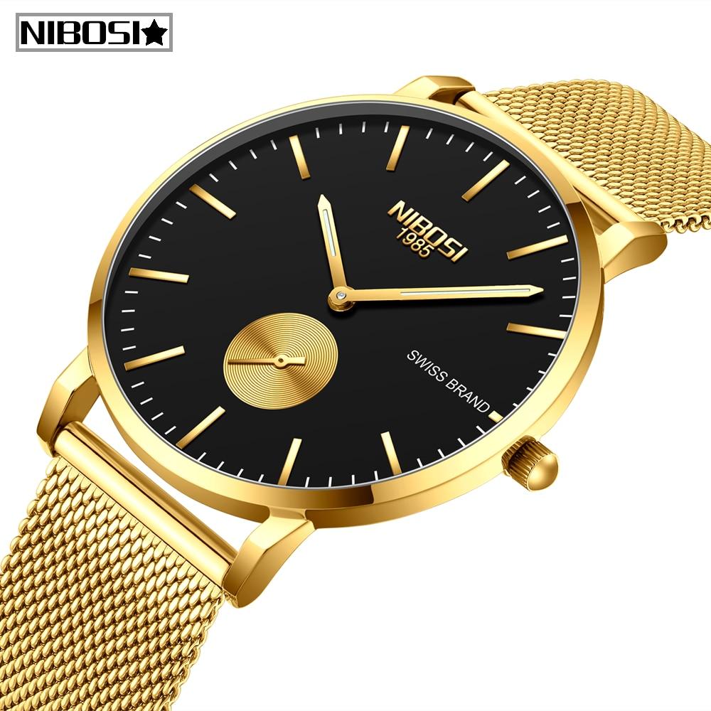 NIBOSI Mens Watches Relogio Masculino Fashion Top Brand Luxury Quartz Watch Men Casual Ultral Thin Mesh Waterproof Simple Watch