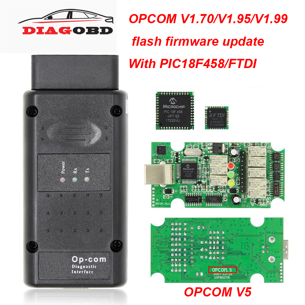 OPCOM V5 V1.99 V1.95 V1.70 2014V PIC18F458 FTDI <font><b>Op</b></font> <font><b>com</b></font> V5 flash firmware update OBD OBD2 Scanner Auto Car Diagnostic Tool Cable image