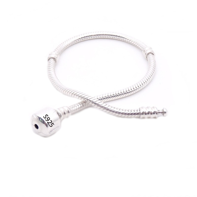 90-OFF-Original-Fine-Jewelry-925-Solid-Silver-Charm-Bracelet-With-Certificate-Soft-Smooth-Snake-Bone