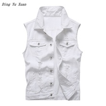 2019 Ripped Jean Jacket Men's White Denim Vest Hip Hop Jean Coats Waistcoat Men Cowboy Brand Sleeveless Jacket Male BIg Size 5XL стоимость
