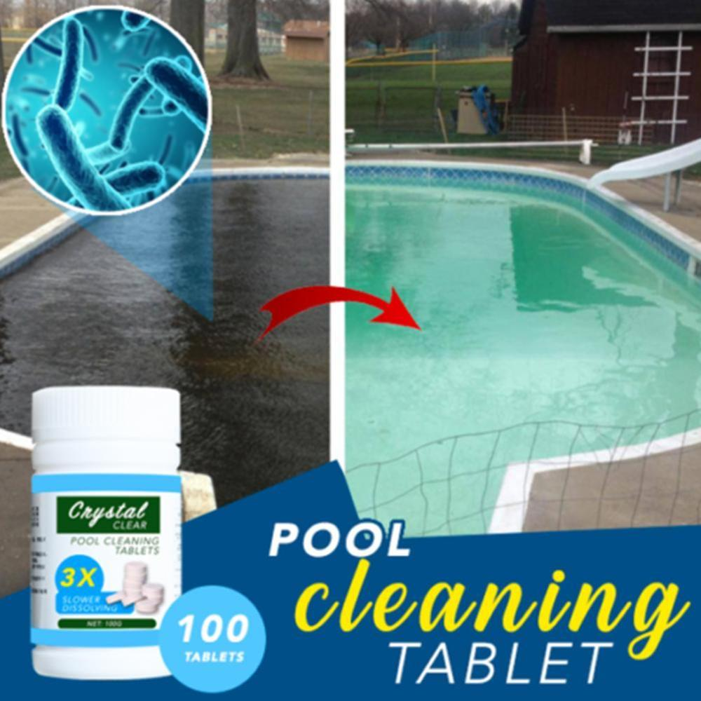 100PCS/Bottle Pool Cleaning Effervescent Chlorine Tablets Cage Disinfectant Swimming Pool Clarifier